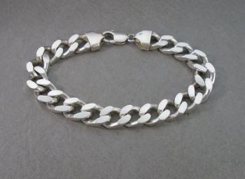 "Heavy solid sterling silver curb chain bracelet (9.5"", 11mm)"