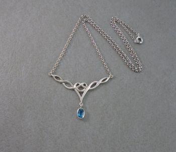 Celtic sterling silver & topaz necklace