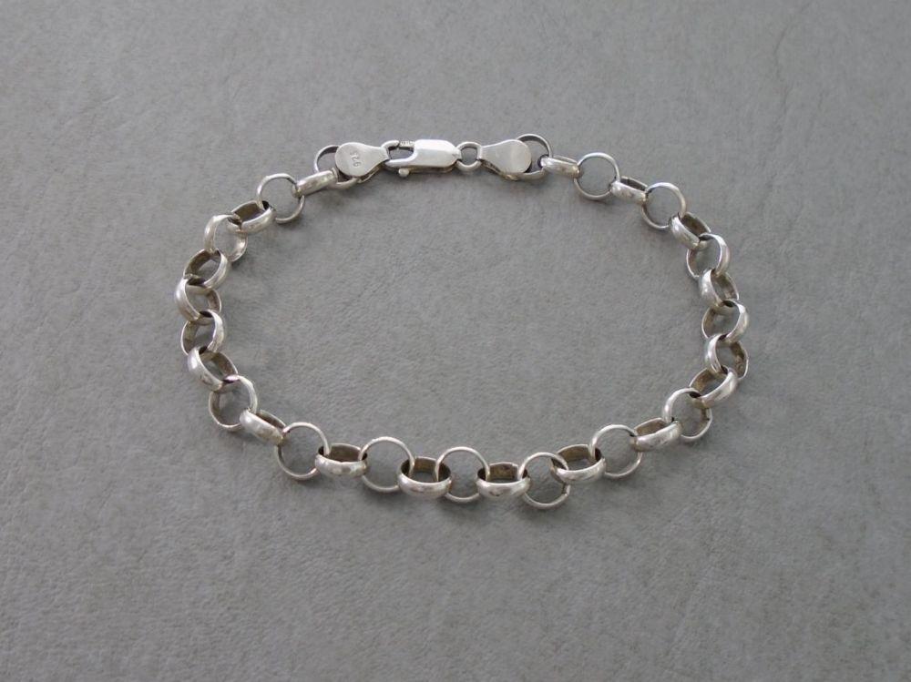 Sterling silver Belcher chain modern charm bracelet