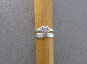 Sterling silver band & solitaire duo ring