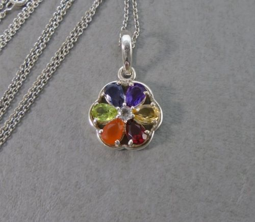 Attractive sterling silver & multi-gem stone floral necklace