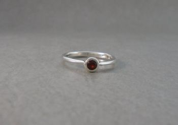 Slim sterling silver & garnet solitaire ring
