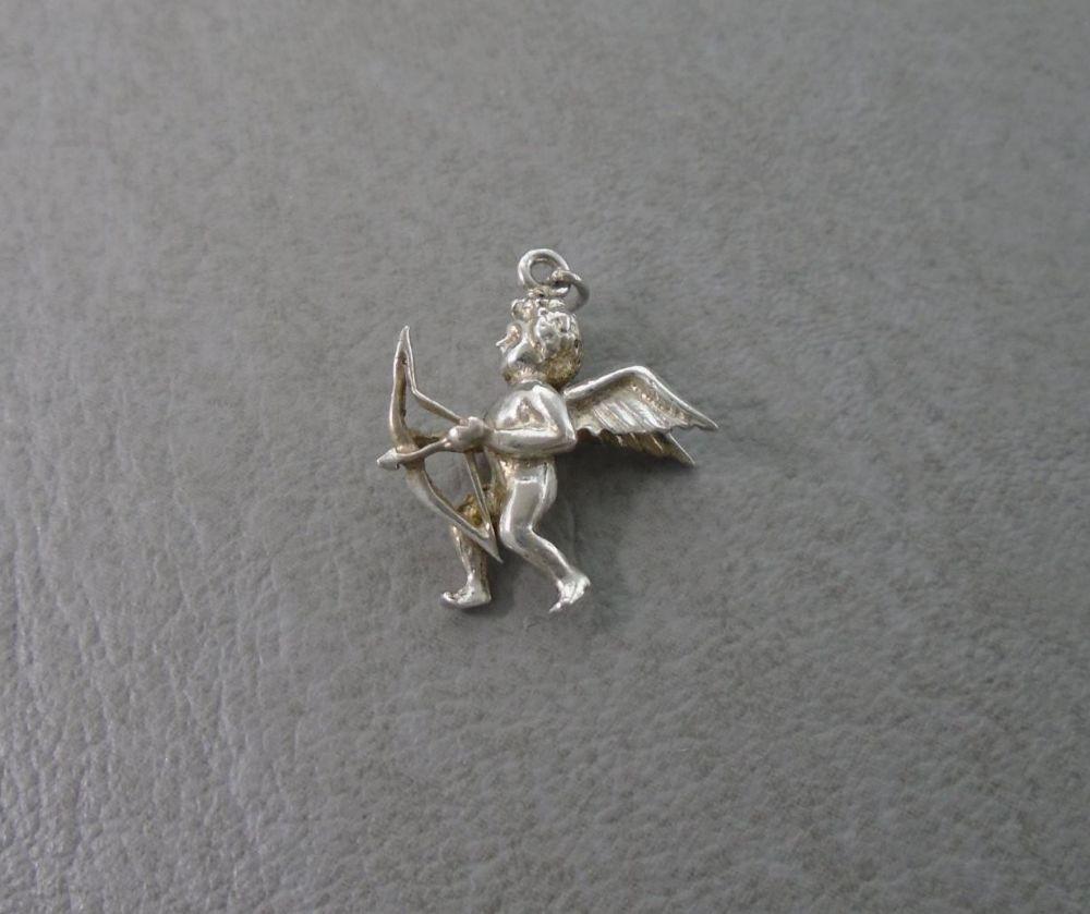 Vintage silver cherub with bow & arrow charm