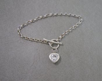 Sterling silver toggle chain bracelet with clear heart charm