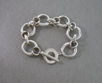Heavy solid sterling silver toggle bracelet
