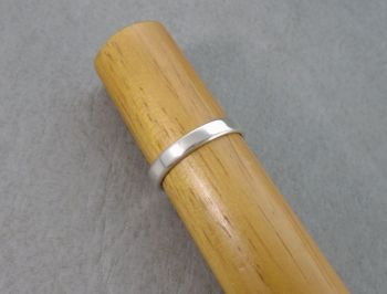 Slim silver wedding band ring