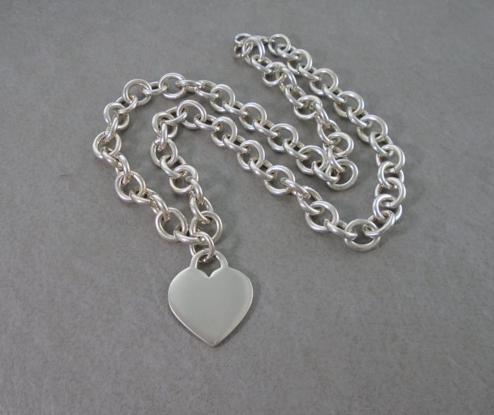 Chunky sterling silver trace chain necklace with solid heart tag