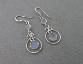 Sterling silver & moonstone drop earrings