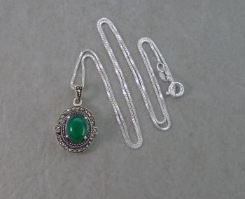 Sterling silver, marcasite & green gem necklace