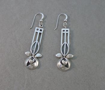 Sterling silver 'Glasgow Rose' drop earrings