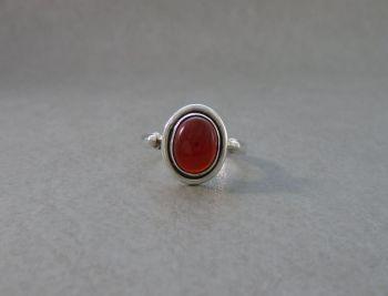 Sterling silver Bali style carnelian ring