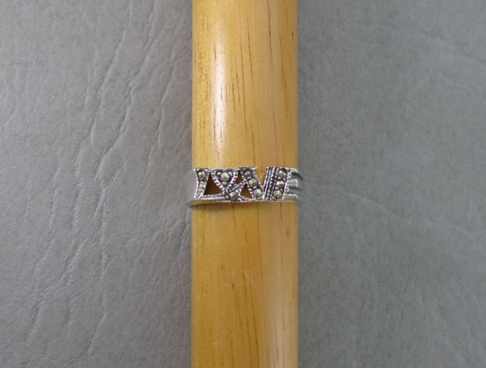 Sterling silver & marcasite 'LOVE' ring