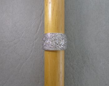 Wide sterling silver wavy stoned ring