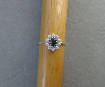Sterling silver blue & clear stone cluster ring