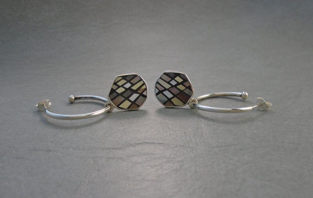 Sterling silver hoop earrings with hexagonal mosaic drops