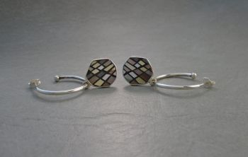 Sterling silver hoop earrings with hexagonal mosaic drops