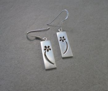 Handmade sterling silver floral cut-out earrings