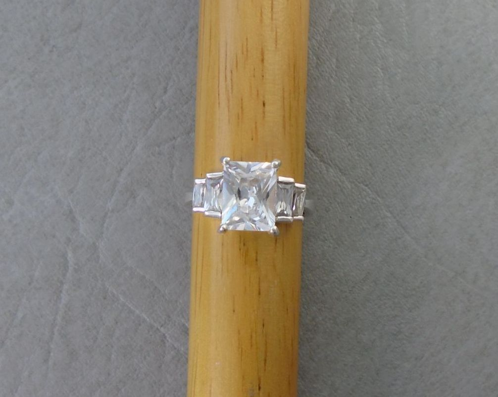 Sterling silver stepped rectangular stone ring