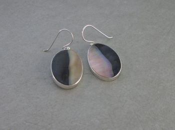 Large sterling silver & abalone earrings