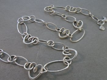 Unusual sterling silver ovals, circles & hearts necklace chain