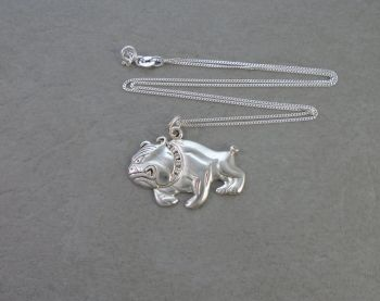 Sterling silver bulldog necklace