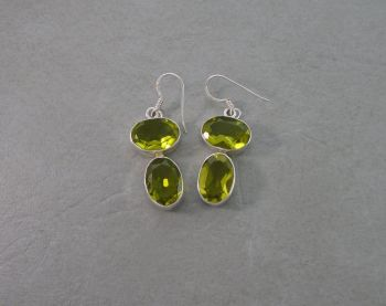 Chunky sterling silver & faceted green glass drop earrings