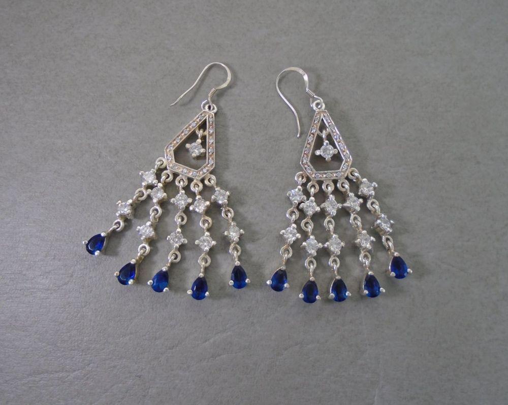 Large sterling silver, blue & clear stone chandelier earrings