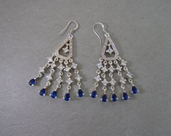 Large sterling silver, blue & clear stone chandelier earrings