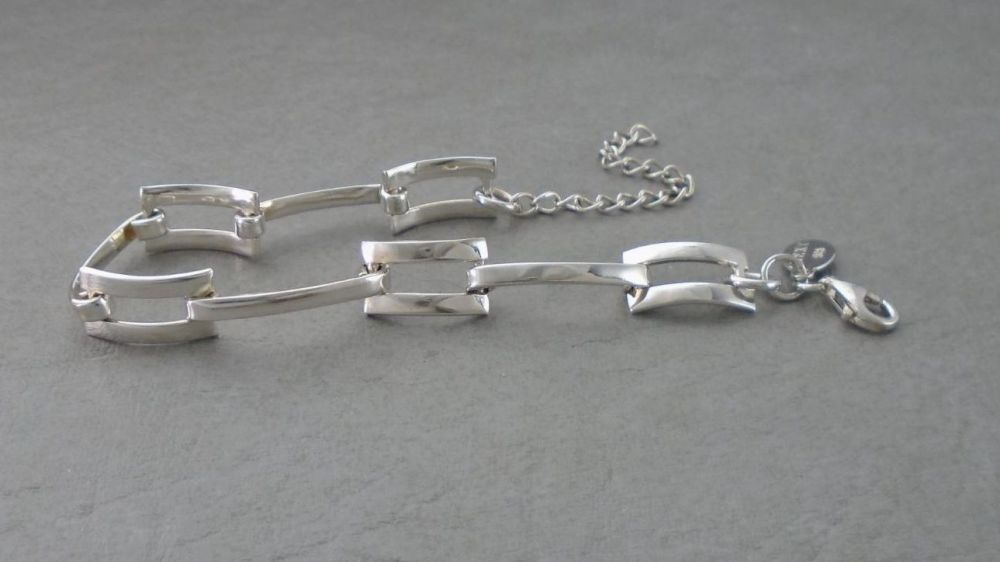 Sterling silver rectangular panel bracelet