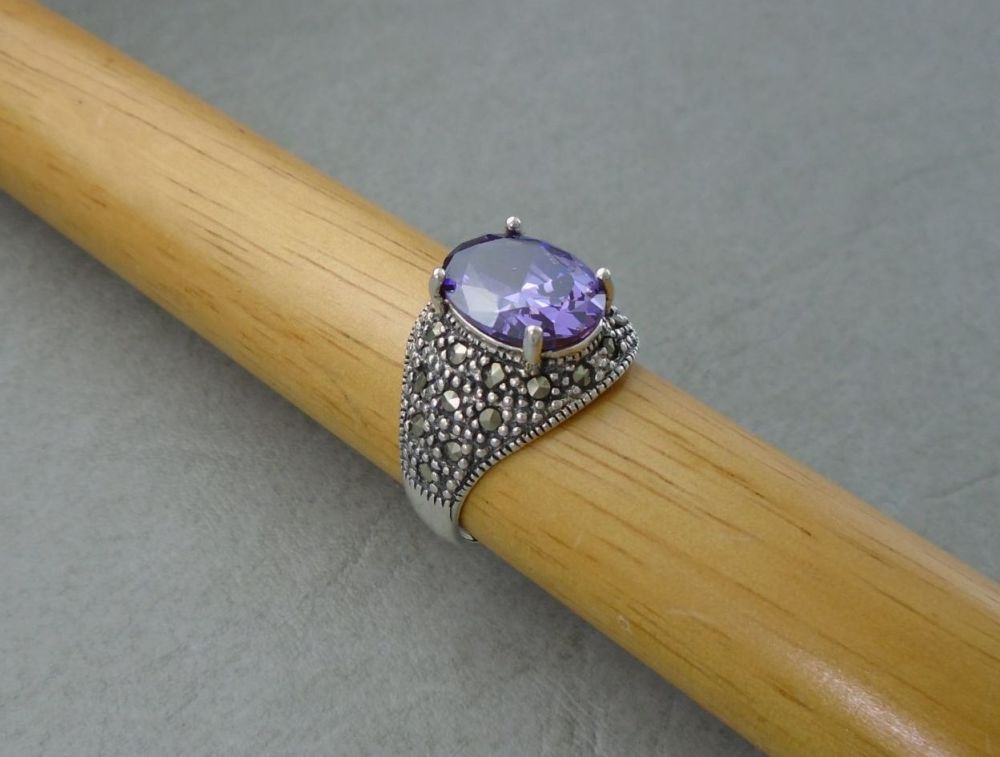 Sterling silver, amethyst glass & marcasite cocktail ring