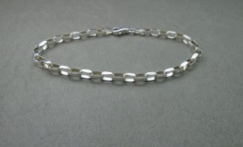 Sterling silver rectangular box chain bracelet