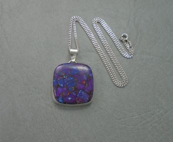 Square sterling silver & purple jasper necklace