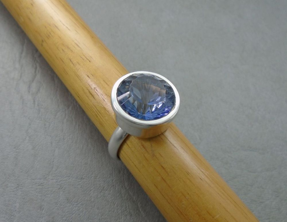 Chunky sterling silver & faceted blue glass ring
