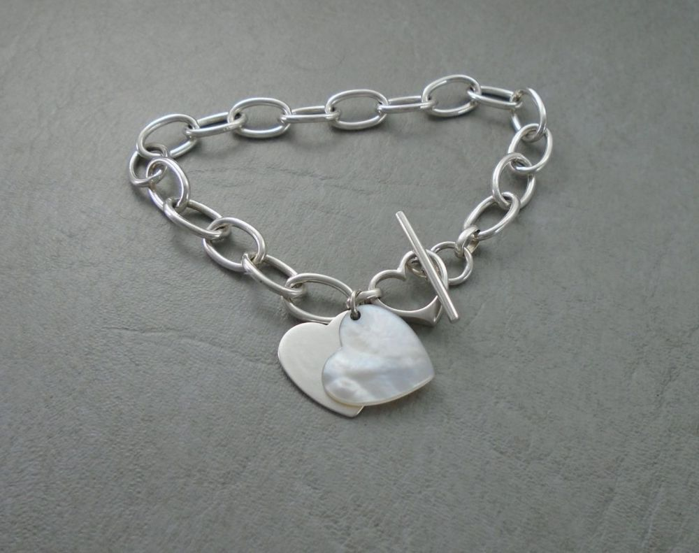 Sterling silver & Mother of pearl tri-heart toggle bracelet