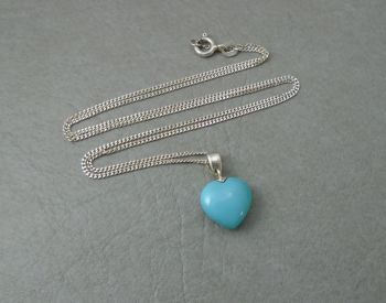 Small sterling silver & blue stone heart necklace