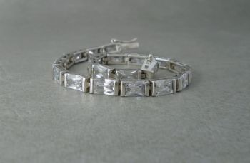 Sterling silver & clear rectangular stone tennis bracelet