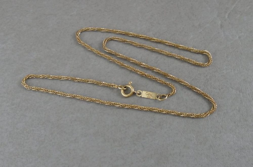 Oriflame - Sterling silver fancy woven twisted chain with gold finish