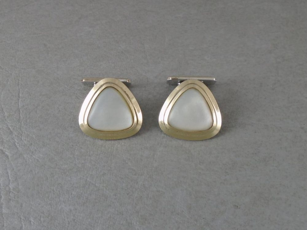 Vintage 800 silver & Mother of Pearl cuff links with gilt detail