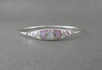 Sterling silver bangle with triangular Mother of Pearl inlay