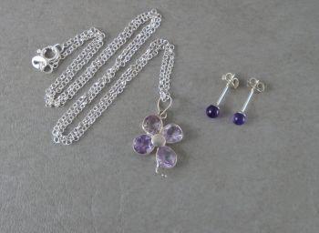 Sterling silver & amethyst set; floral necklace & sphere stud earrings