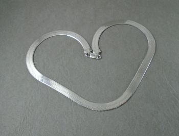 Sterling silver herringbone chain collar / necklace