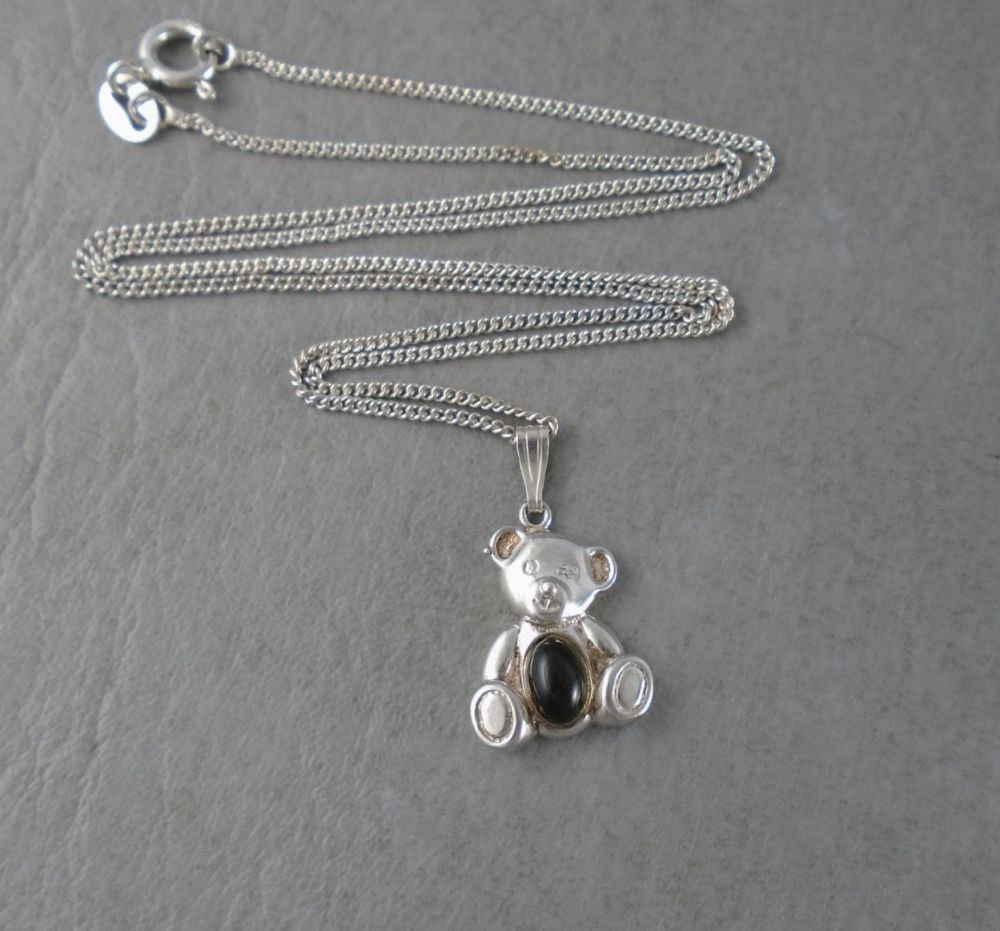 Sterling silver jelly-belly teddy bear necklace