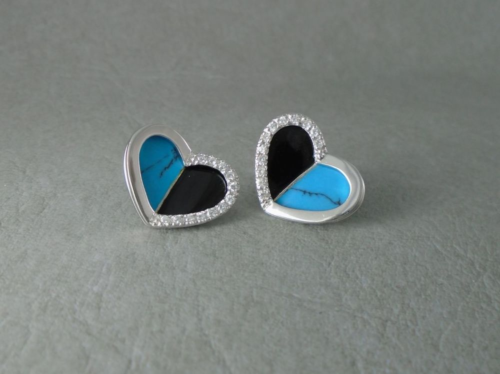 Large / oversize sterling silver, black onyx & howlite heart stud earrings