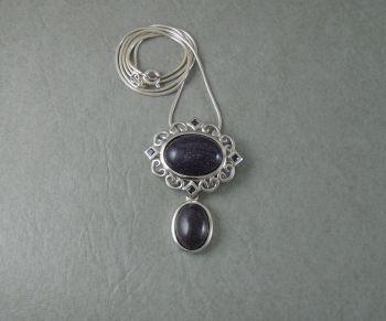 Sterling silver & blue goldstone necklace