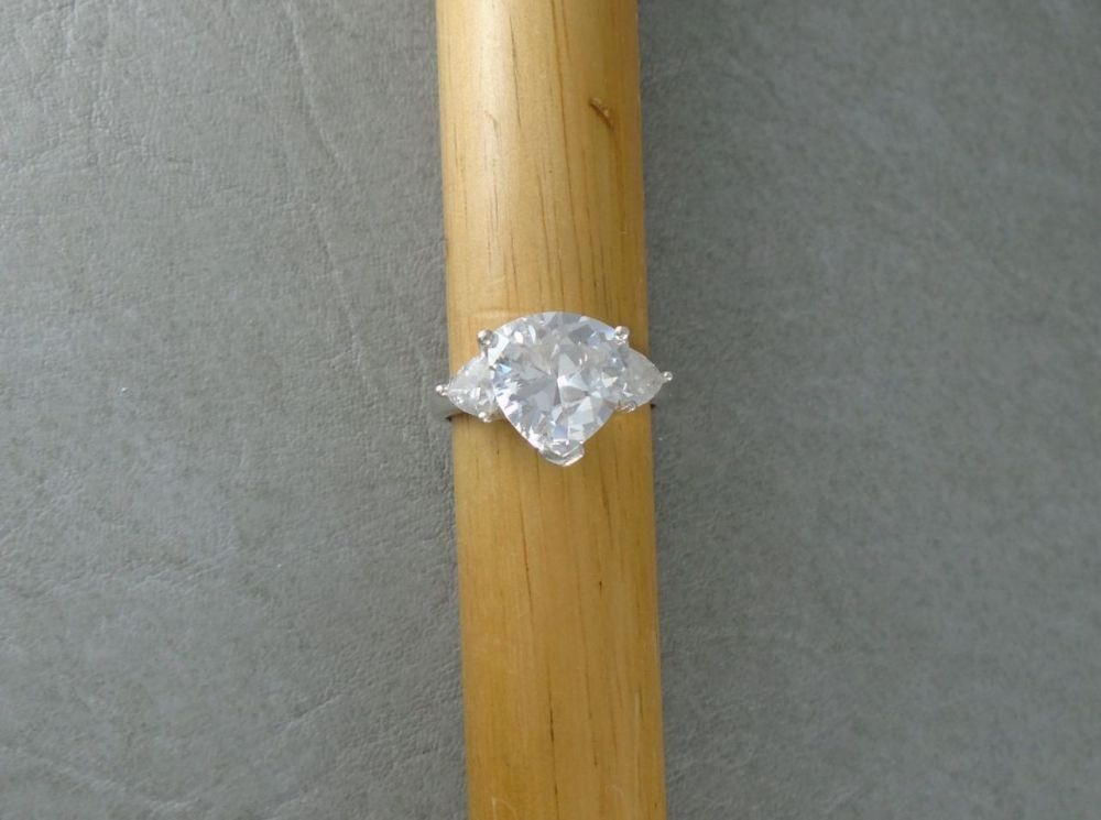 Sterling silver trilogy ring with triangular stones