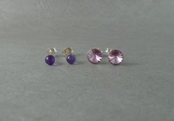 2 pairs of sterling silver stud earrings; amethyst sphere & pink crystal