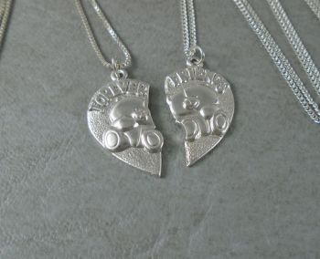 Sterling silver 'Forever Friends' split heart necklaces