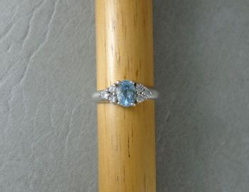 Sterling silver ring with blue & clear stones