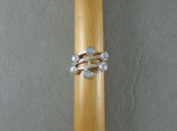 Sterling silver multi-band effect ring with Mother of Pearl