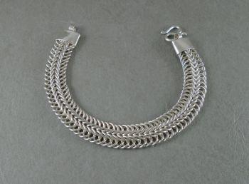Heavy sterling silver woven chain bracelet
